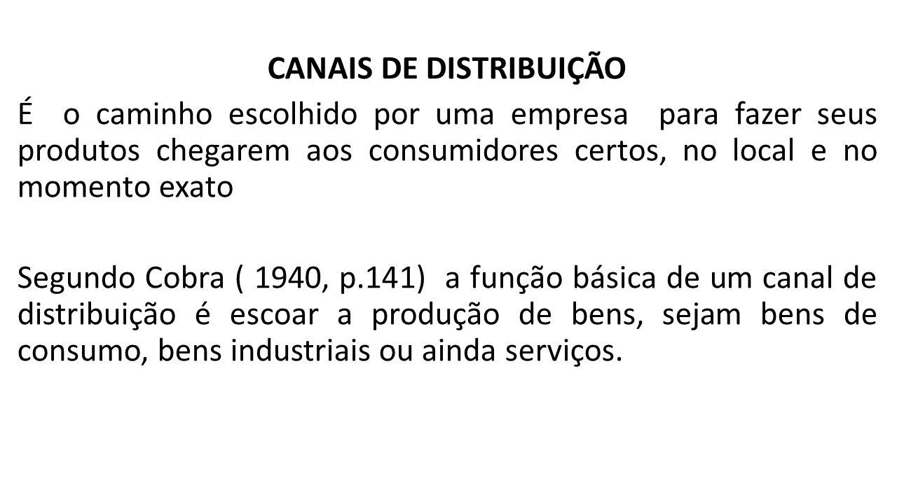 FUNÇÕES DOS CANAIS DE DISTRIBUIÇÃO Para Kotler( 1996), canal de distribuição faz a ligação entre o produtor e o consumidor, superando as principais lacunas de tempo, lugar e posse que separam os bens e serviços daqueles que desejam utiliza-los .