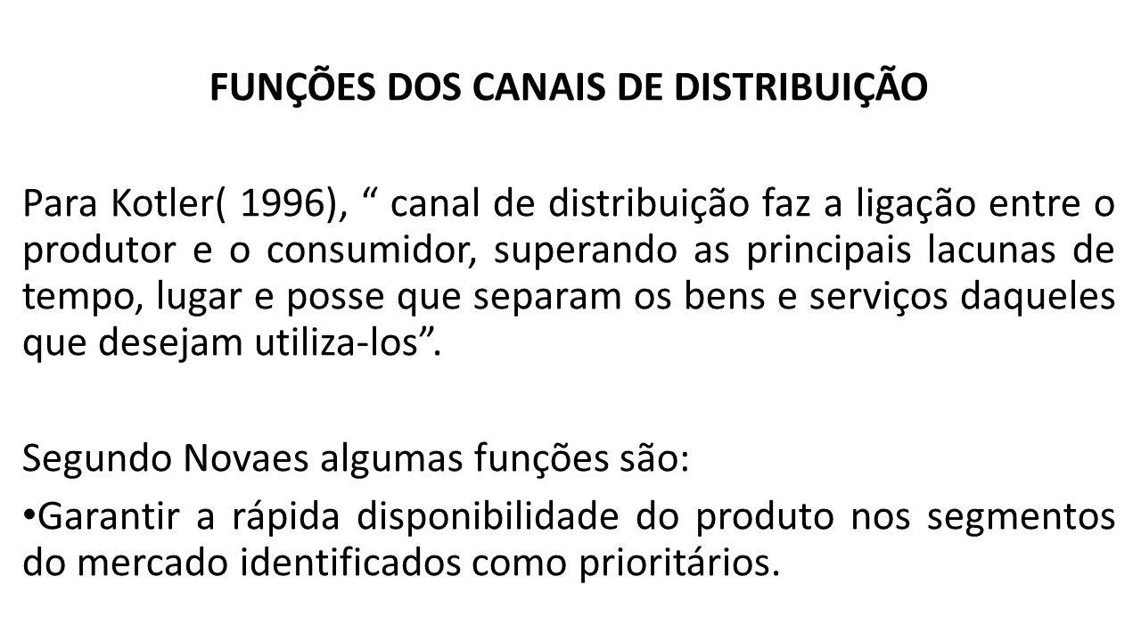 """FUNÇÕES DOS CANAIS DE DISTRIBUIÇÃO Para Kotler( 1996), """" canal de distribuição faz a ligação entre o produtor e o consumidor, superando as principais"""