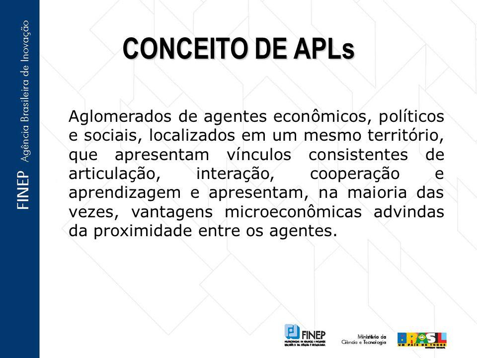 Aglomerados de agentes econômicos, políticos e sociais, localizados em um mesmo território, que apresentam vínculos consistentes de articulação, inter