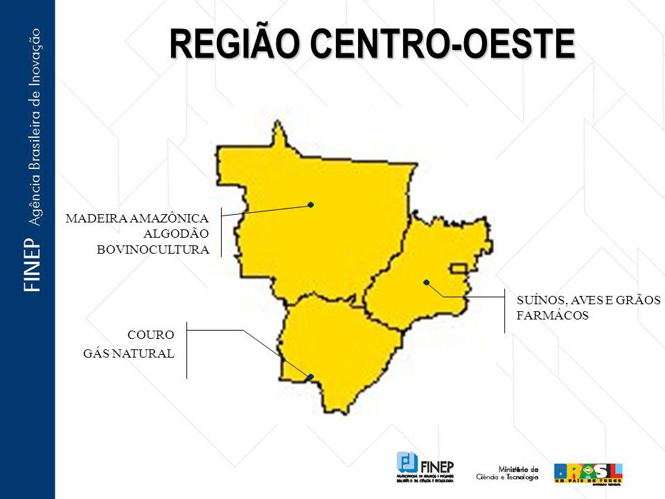 REGIÃO CENTRO-OESTE MADEIRA AMAZÔNICA ALGODÃO BOVINOCULTURA COURO GÁS NATURAL SUÍNOS, AVES E GRÃOS FARMÁCOS