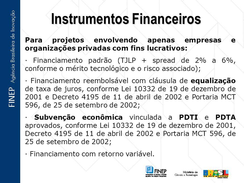 Para projetos envolvendo apenas empresas e organizações privadas com fins lucrativos: · Financiamento padrão (TJLP + spread de 2% a 6%, conforme o mérito tecnológico e o risco associado); · Financiamento reembolsável com cláusula de equalização de taxa de juros, conforme Lei 10332 de 19 de dezembro de 2001 e Decreto 4195 de 11 de abril de 2002 e Portaria MCT 596, de 25 de setembro de 2002; · Subvenção econômica vinculada a PDTI e PDTA aprovados, conforme Lei 10332 de 19 de dezembro de 2001, Decreto 4195 de 11 de abril de 2002 e Portaria MCT 596, de 25 de setembro de 2002; · Financiamento com retorno variável.