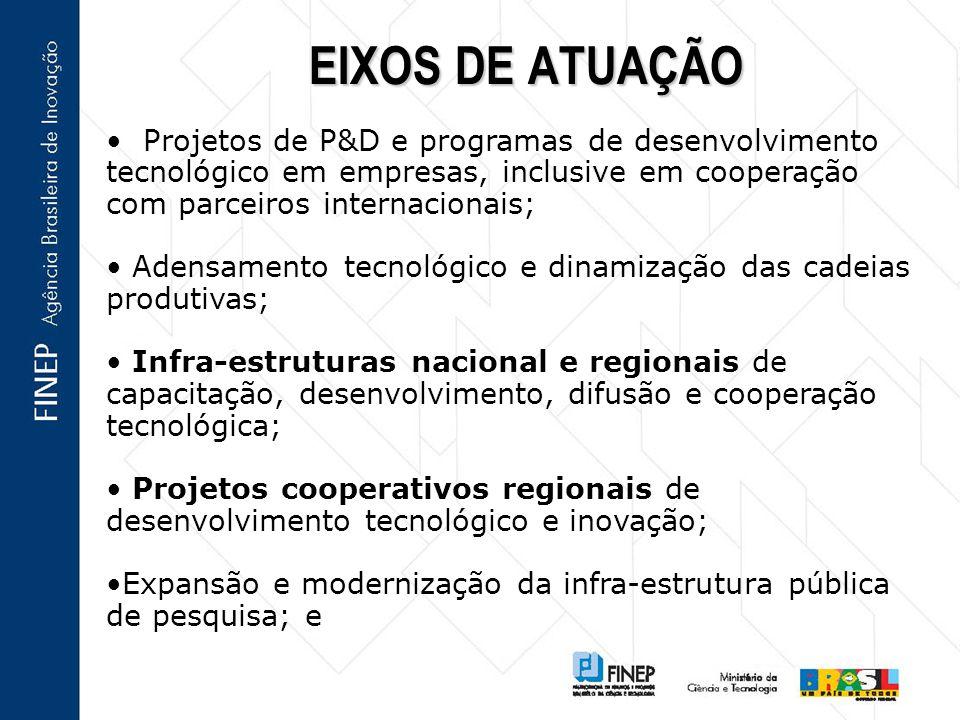 EIXOS DE ATUAÇÃO Projetos de P&D e programas de desenvolvimento tecnológico em empresas, inclusive em cooperação com parceiros internacionais; Adensamento tecnológico e dinamização das cadeias produtivas; Infra-estruturas nacional e regionais de capacitação, desenvolvimento, difusão e cooperação tecnológica; Projetos cooperativos regionais de desenvolvimento tecnológico e inovação; Expansão e modernização da infra-estrutura pública de pesquisa; e