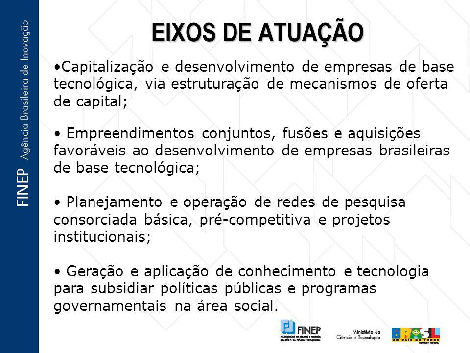 Capitalização e desenvolvimento de empresas de base tecnológica, via estruturação de mecanismos de oferta de capital; Empreendimentos conjuntos, fusõe