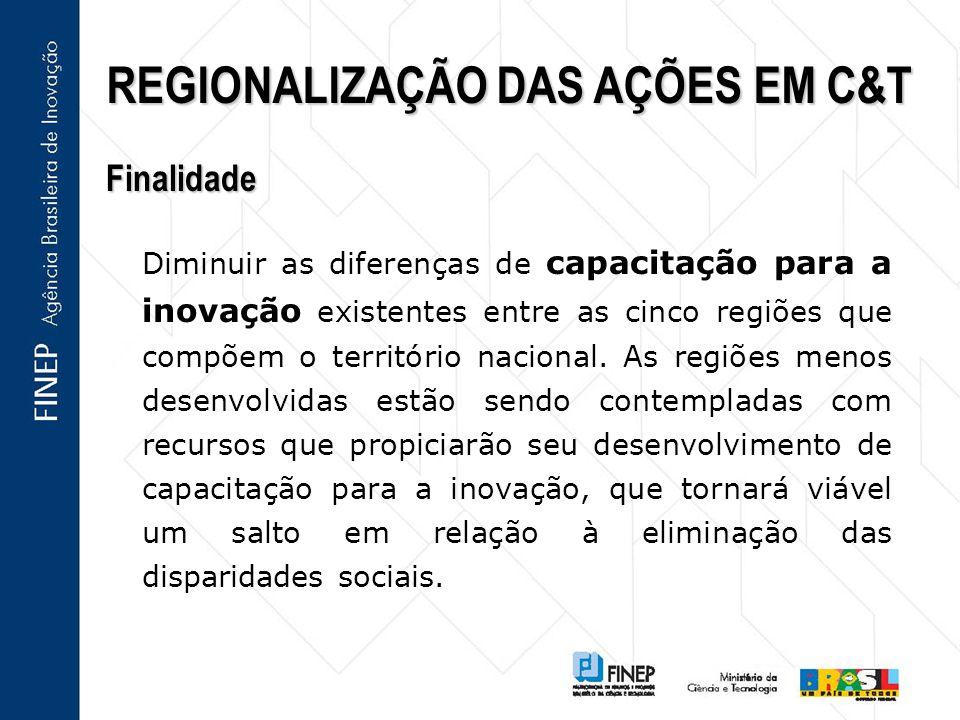 REGIONALIZAÇÃO DAS AÇÕES EM C&T Finalidade Diminuir as diferenças de capacitação para a inovação existentes entre as cinco regiões que compõem o território nacional.