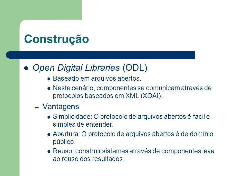 Construção Open Digital Libraries (ODL) Baseado em arquivos abertos. Neste cenário, componentes se comunicam através de protocolos baseados em XML (XO