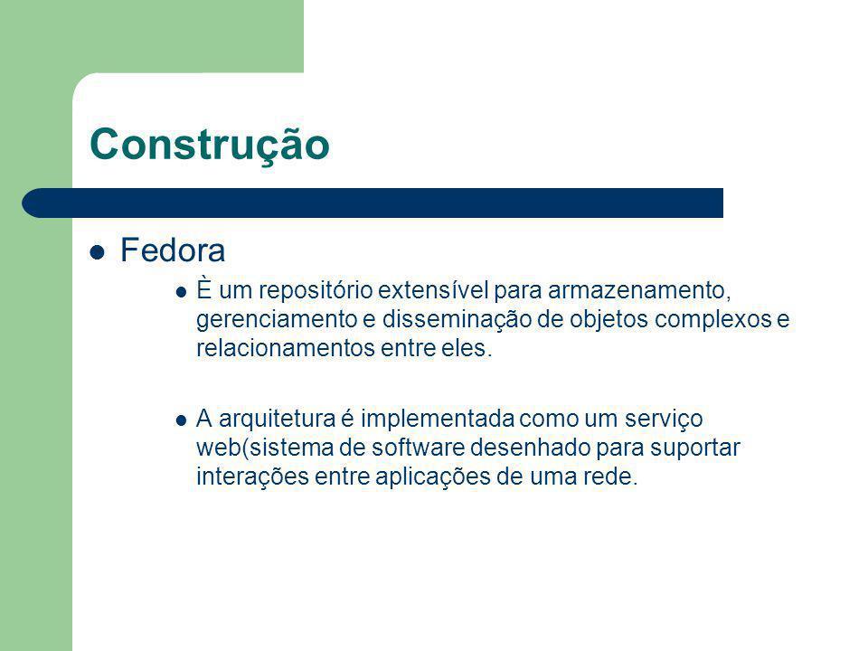 Construção Fedora È um repositório extensível para armazenamento, gerenciamento e disseminação de objetos complexos e relacionamentos entre eles. A ar