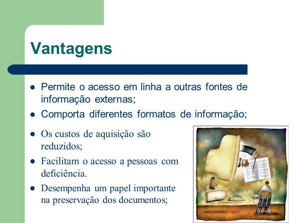 Vantagens Permite o acesso em linha a outras fontes de informação externas; Comporta diferentes formatos de informação; Os custos de aquisição são red