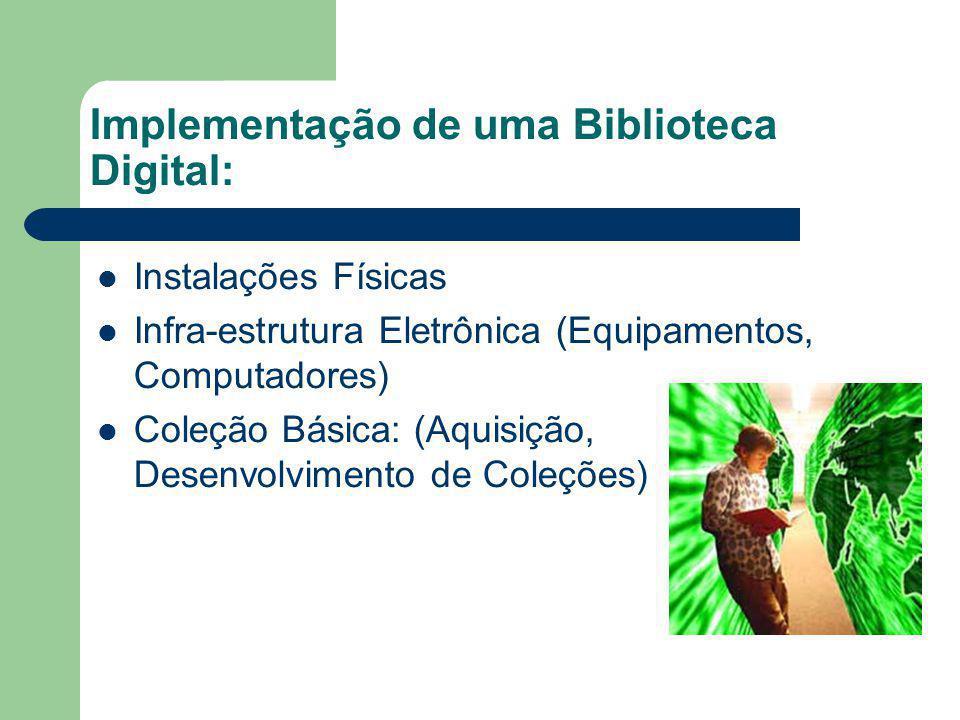 Implementação de uma Biblioteca Digital: Instalações Físicas Infra-estrutura Eletrônica (Equipamentos, Computadores) Coleção Básica: (Aquisição, Desen