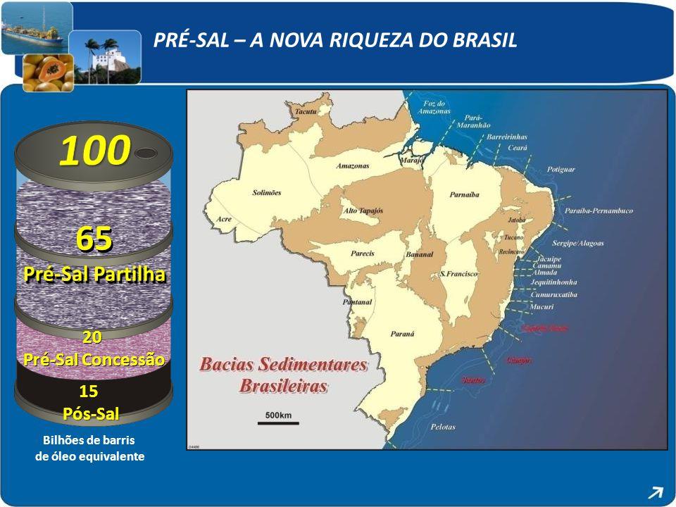 PRÉ-SAL – A NOVA RIQUEZA DO BRASIL 15Pós-Sal Bilhões de barris de óleo equivalente 20 Pré-Sal Concessão 65 Pré-Sal Partilha 65 Pré-Sal Partilha 20 Pré