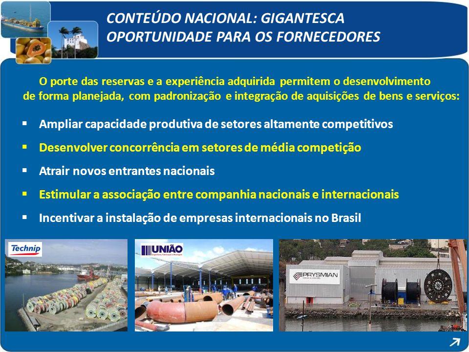 CONTEÚDO NACIONAL: GIGANTESCA OPORTUNIDADE PARA OS FORNECEDORES O porte das reservas e a experiência adquirida permitem o desenvolvimento de forma pla