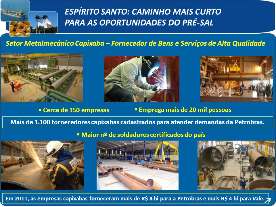  Cerca de 150 empresas  Emprega mais de 20 mil pessoas  Maior nº de soldadores certificados do país Em 2011, as empresas capixabas forneceram mais