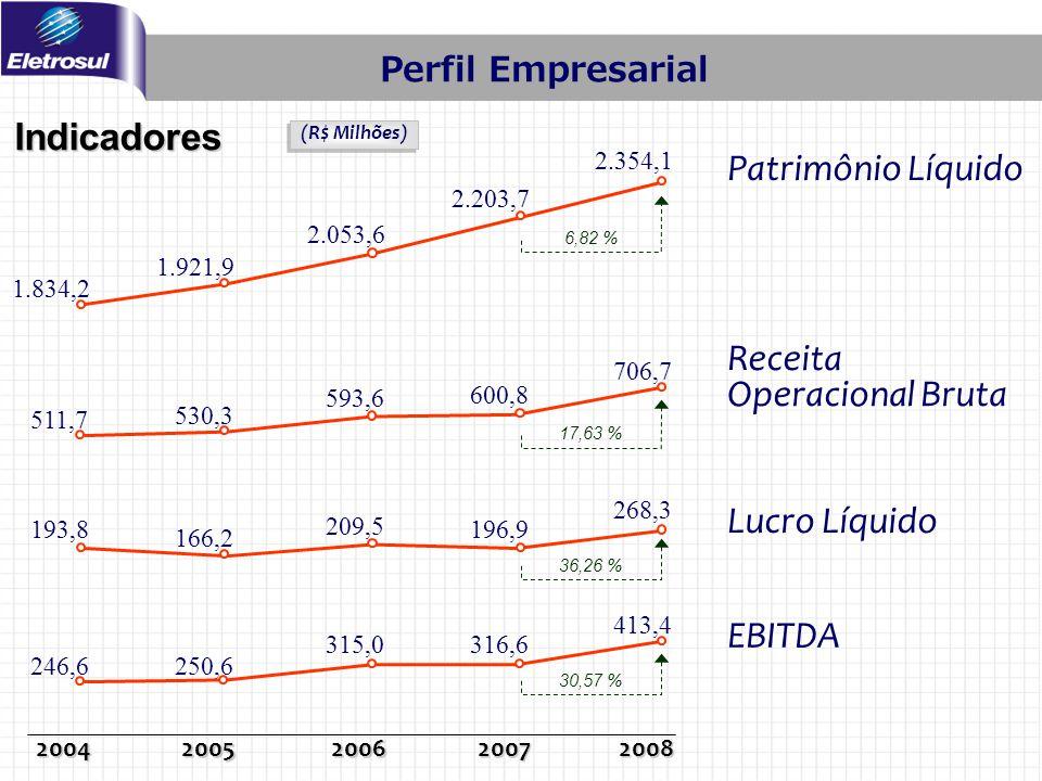 Patrimônio Líquido Receita Operacional Bruta Lucro Líquido EBITDA Indicadores (R$ Milhões) 20042005200620072008 511,7 530,3 593,6 600,8 193,8 166,2 20