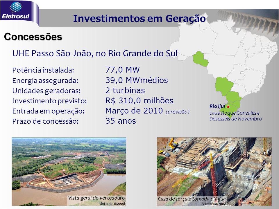 Concessões Rio Ijuí Entre Roque Gonzales e Dezesseis de Novembro Potência instalada: 77,0 MW Energia assegurada: 39,0 MWmédios Unidades geradoras: 2 t