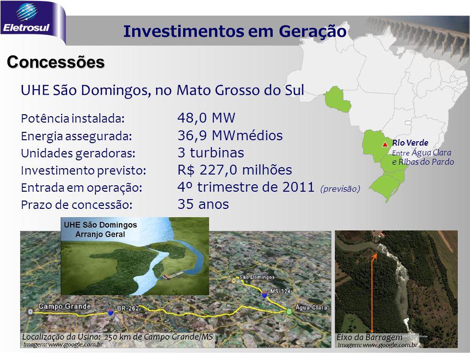 Concessões Rio Verde Entre Água Clara e Ribas do Pardo Potência instalada: 48,0 MW Energia assegurada: 36,9 MWmédios Unidades geradoras: 3 turbinas In