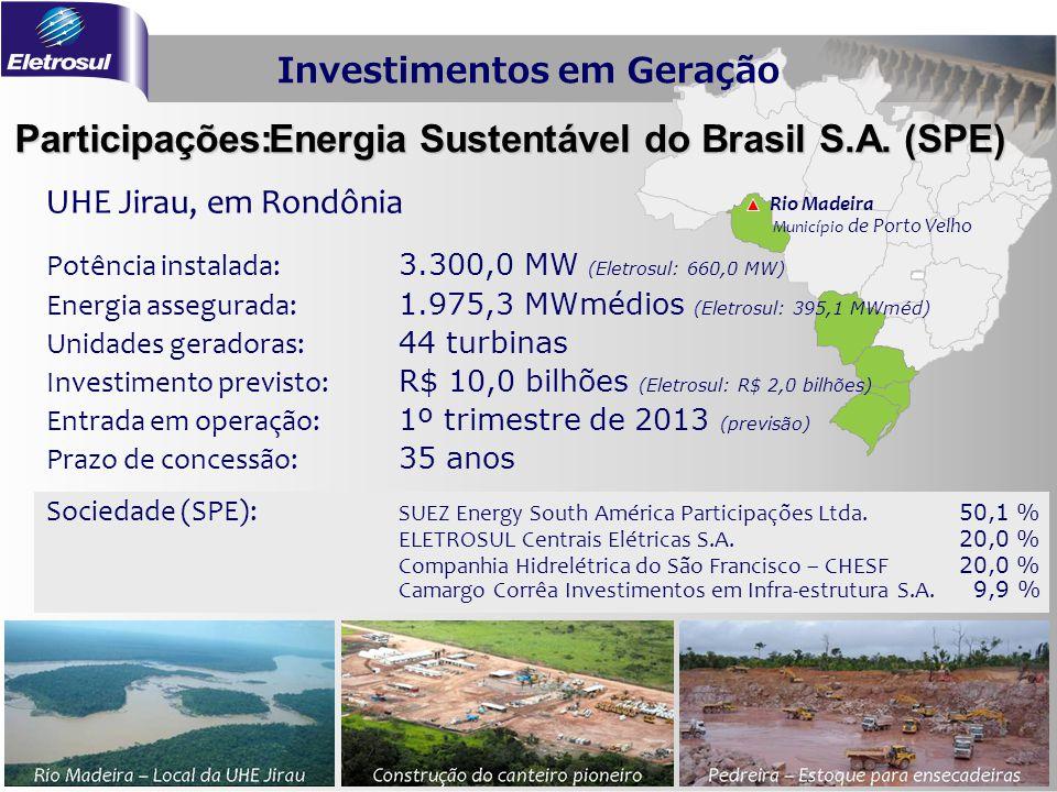 UHE Jirau, em Rondônia Rio Madeira Município de Porto Velho Participações: Energia Sustentável do Brasil S.A. (SPE) Potência instalada: 3.300,0 MW (El