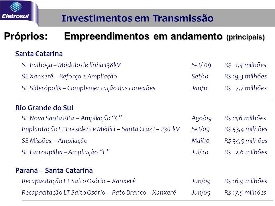 Santa Catarina SE Palhoça – Módulo de linha 138kVSet/ 09R$ 1,4 milhões SE Xanxerê – Reforço e AmpliaçãoSet/10R$ 19,3 milhões SE Siderópolis – Compleme