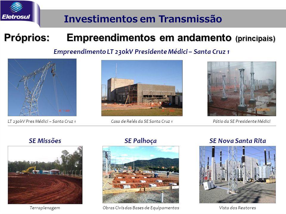 Investimentos em Transmissão Próprios: Empreendimentos em andamento (principais) Pátio da SE Presidente MédiciCasa de Relés da SE Santa Cruz 1LT 230kV