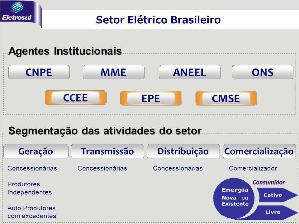 CNPEMME CCEE Agentes Institucionais Segmentação das atividades do setor Setor Elétrico Brasileiro TransmissãoGeraçãoDistribuiçãoComercialização Conces