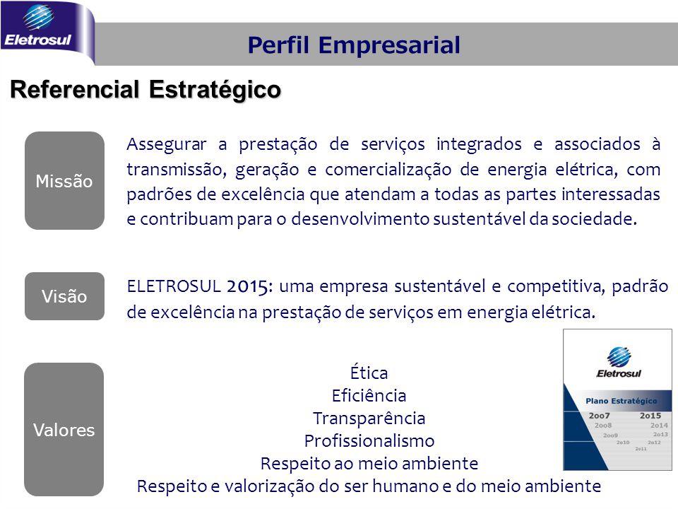 ELETROSUL 2015 : uma empresa sustentável e competitiva, padrão de excelência na prestação de serviços em energia elétrica. Valores Missão Assegurar a
