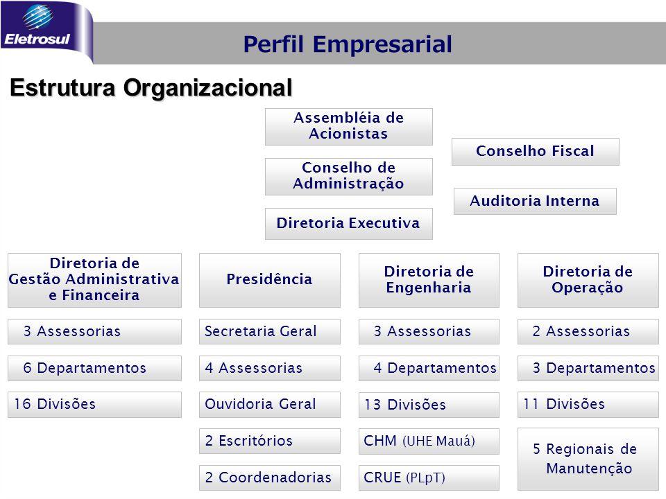 Estrutura Organizacional Conselho de Administração Conselho Fiscal Diretoria Executiva Presidência Diretoria de Engenharia Assembléia de Acionistas Di