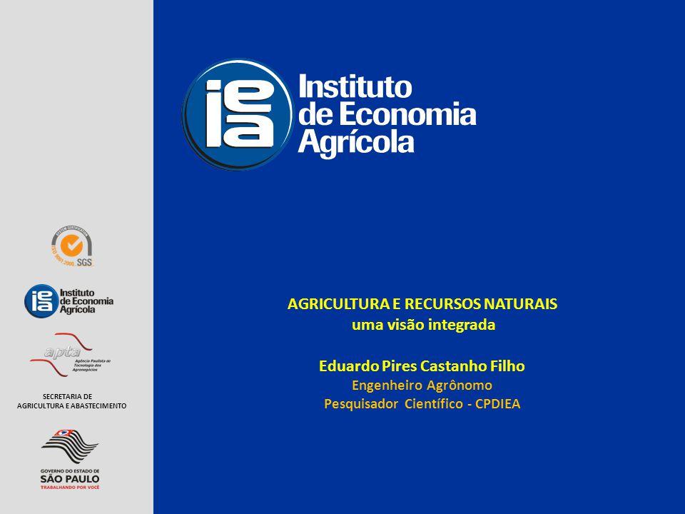 AGRICULTURA E RECURSOS NATURAIS uma visão integrada Eduardo Pires Castanho Filho Engenheiro Agrônomo Pesquisador Científico - CPDIEA SECRETARIA DE AGR