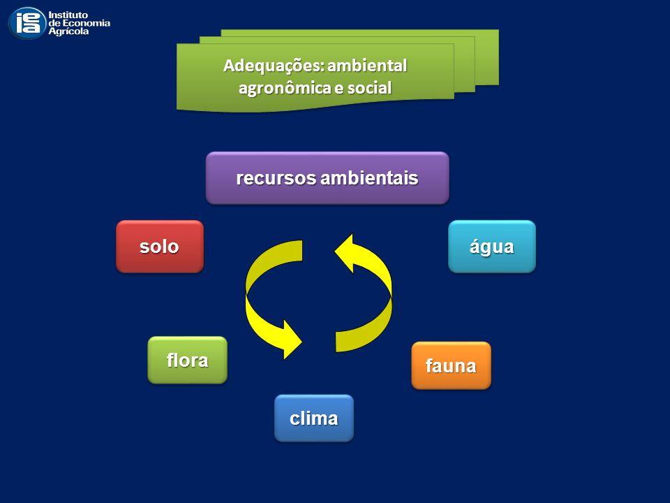Adequações: ambiental agronômica e social Adequações: ambiental agronômica e social águaáguasolosolo floraflora faunafauna climaclima recursos ambient