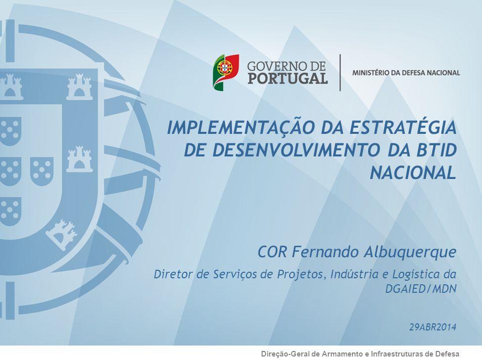 Sumário Direção-Geral de Armamento e Infraestruturas de Defesa - MDN/DGAIED/DSPIL – Organização e atribuições - Estratégia de desenvolvimento da BTID - Implementação da Estratégia da BTID - Conclusões