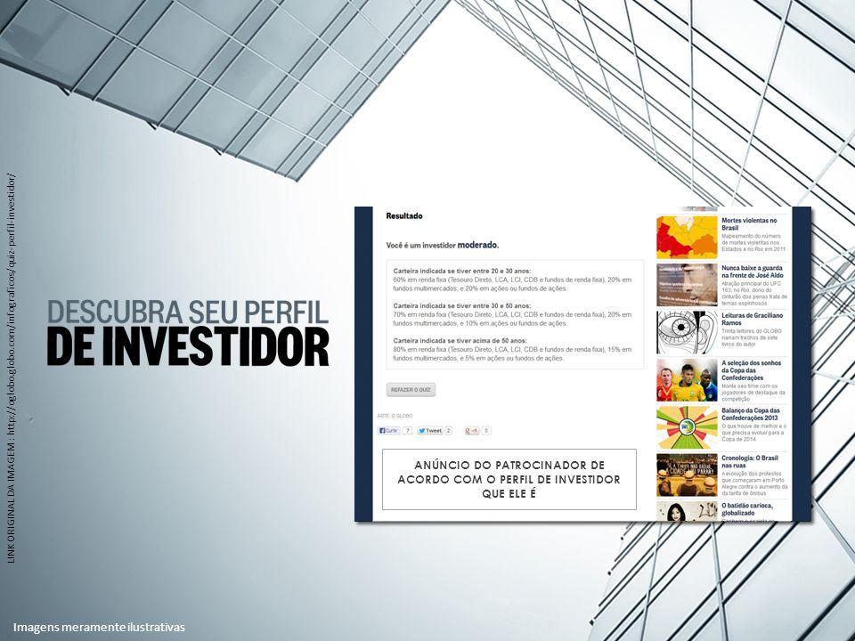 LINK ORIGINAL DA IMAGEM : http://oglobo.globo.com/infograficos/quiz-perfil-investidor/ ANÚNCIO DO PATROCINADOR DE ACORDO COM O PERFIL DE INVESTIDOR QUE ELE É Imagens meramente ilustrativas