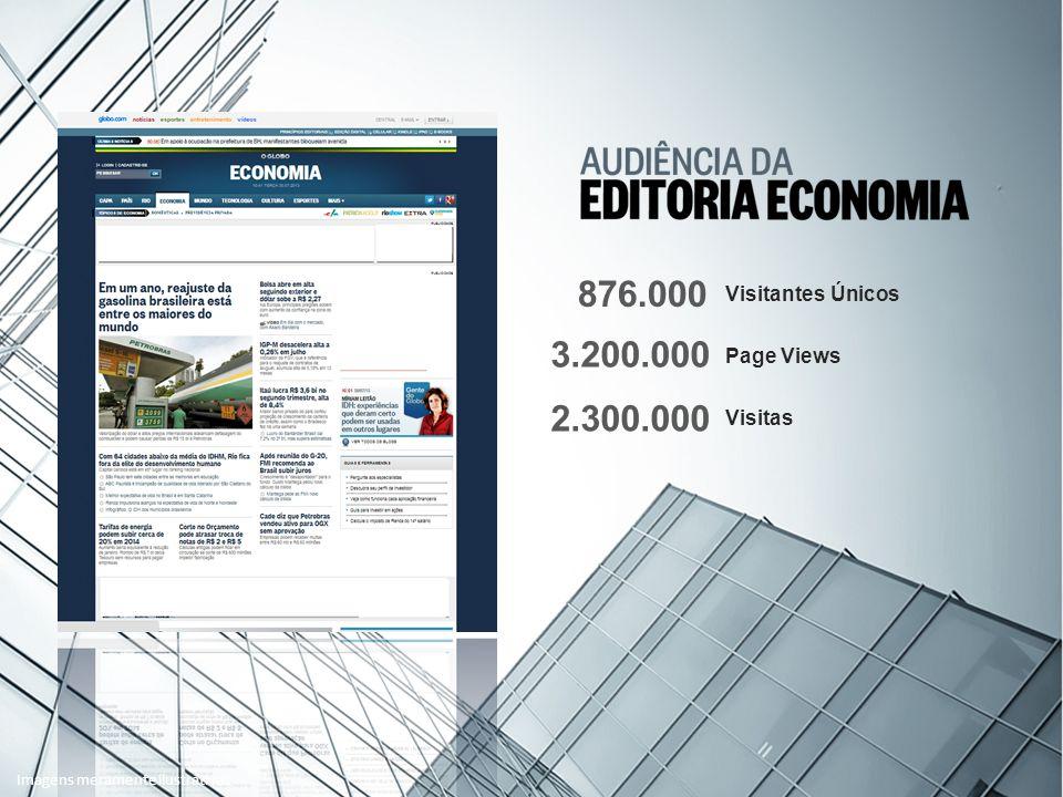 Visitantes Únicos Page Views Visitas 876.000 3.200.000 2.300.000 Imagens meramente ilustrativas