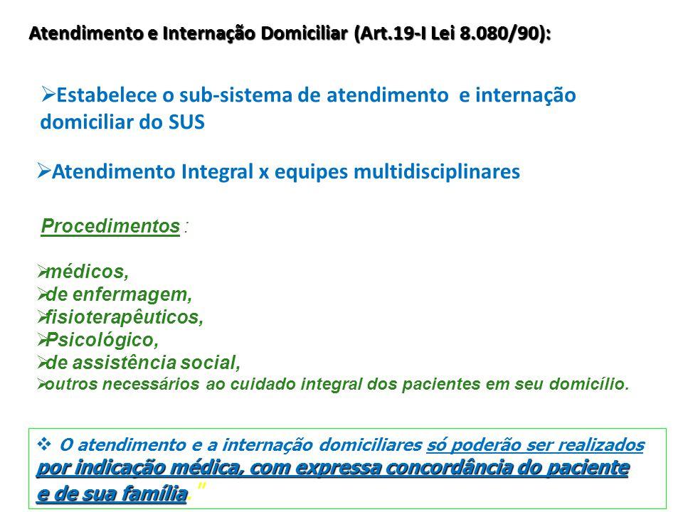 Atendimento e Internação Domiciliar (Art.19-I Lei 8.080/90):  Estabelece o sub-sistema de atendimento e internação domiciliar do SUS  Atendimento In