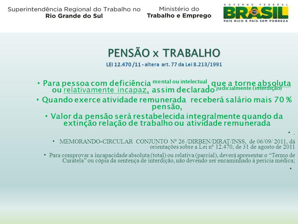 PENSÃO x TRABALHO LEI 12.470 /11 - LEI 12.470 /11 - altera art. 77 da Lei 8.213/1991 Para pessoa com deficiência mental ou intelectual, que a torne ab