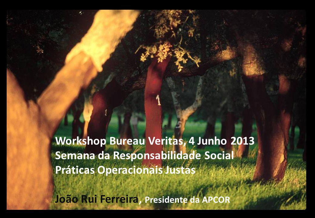 Workshop Bureau Veritas, 4 Junho 2013 Semana da Responsabilidade Social Práticas Operacionais Justas João Rui Ferreira, Presidente da APCOR