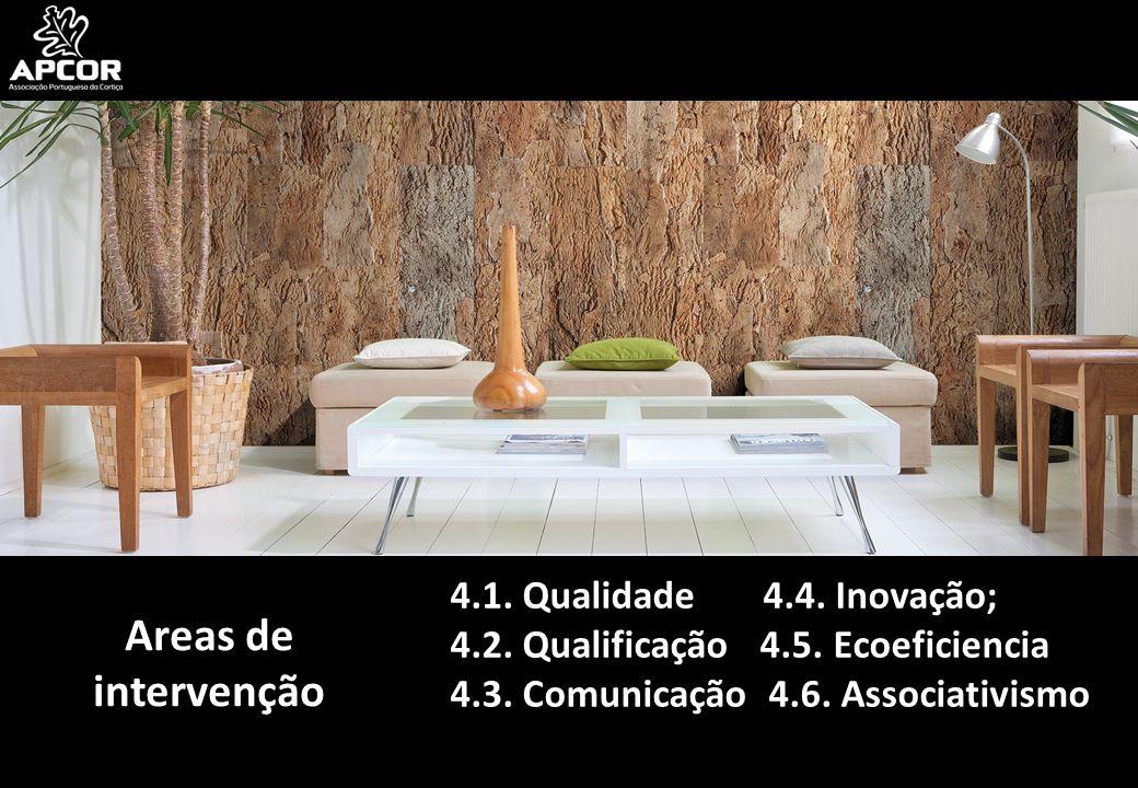 Areas de intervenção 4.1. Qualidade 4.4. Inovação; 4.2. Qualificação 4.5. Ecoeficiencia 4.3. Comunicação 4.6. Associativismo