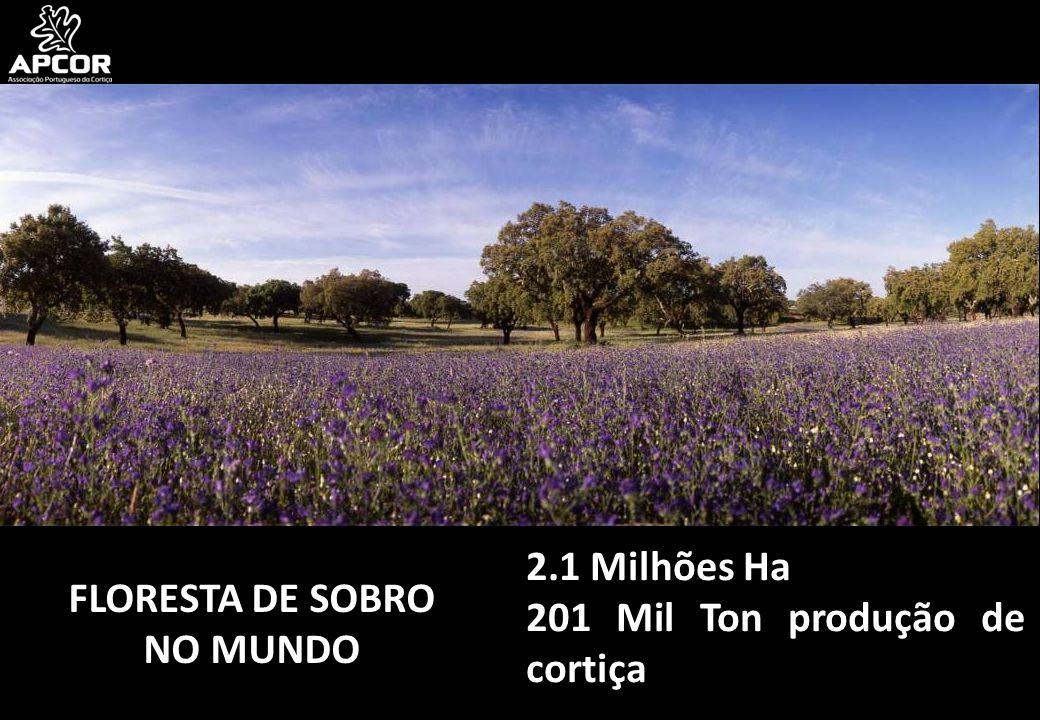 FLORESTA DE SOBRO NO MUNDO 2.1 Milhões Ha 201 Mil Ton produção de cortiça
