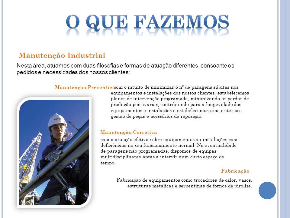 Nesta área, atuamos com duas filosofias e formas de atuação diferentes, consoante os pedidos e necessidades dos nossos clientes: Manutenção Industrial