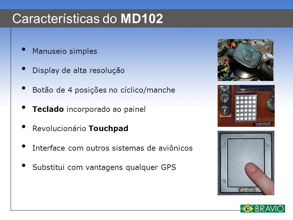 Características do MD102 Manuseio simples Display de alta resolução Botão de 4 posições no cíclico/manche Teclado incorporado ao painel Revolucionário