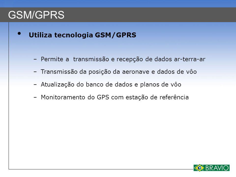 GSM/GPRS Utiliza tecnologia GSM/GPRS − Permite a transmissão e recepção de dados ar-terra-ar − Transmissão da posição da aeronave e dados de vôo − Atu