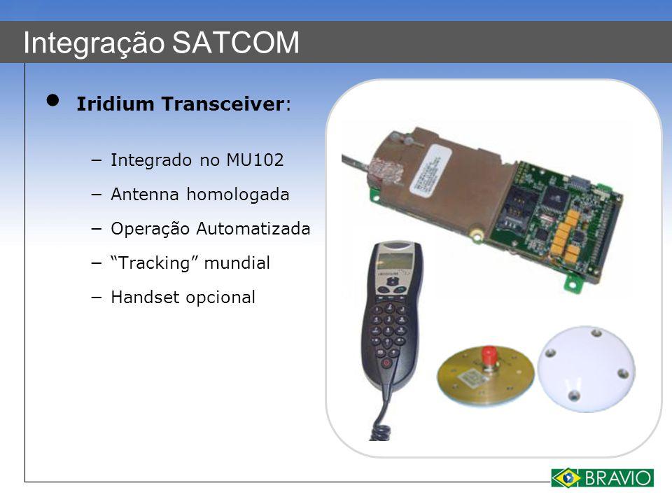 """Integração SATCOM Iridium Transceiver: −Integrado no MU102 −Antenna homologada −Operação Automatizada −""""Tracking"""" mundial −Handset opcional"""
