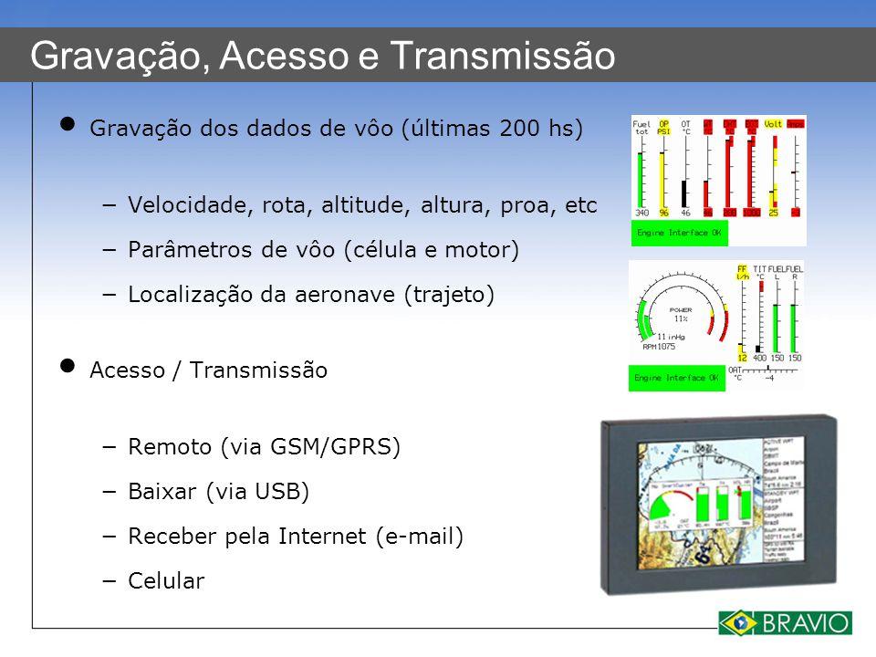 Gravação, Acesso e Transmissão Gravação dos dados de vôo (últimas 200 hs) −Velocidade, rota, altitude, altura, proa, etc −Parâmetros de vôo (célula e