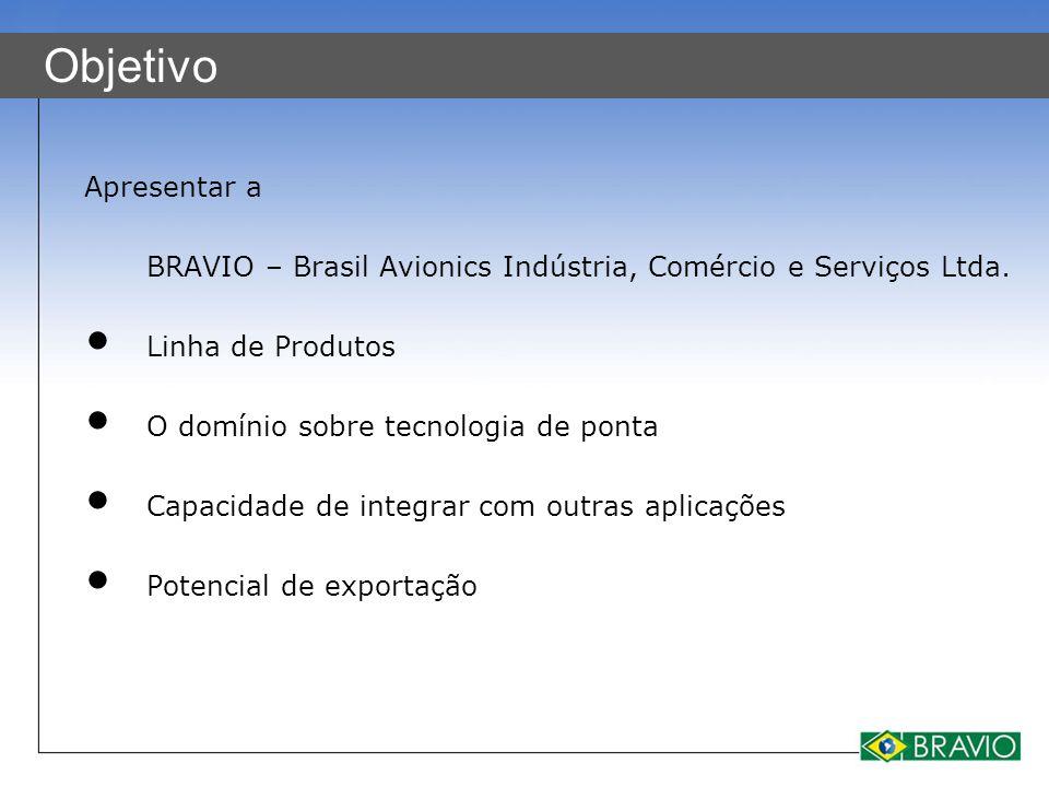 Objetivo Apresentar a BRAVIO – Brasil Avionics Indústria, Comércio e Serviços Ltda. Linha de Produtos O domínio sobre tecnologia de ponta Capacidade d