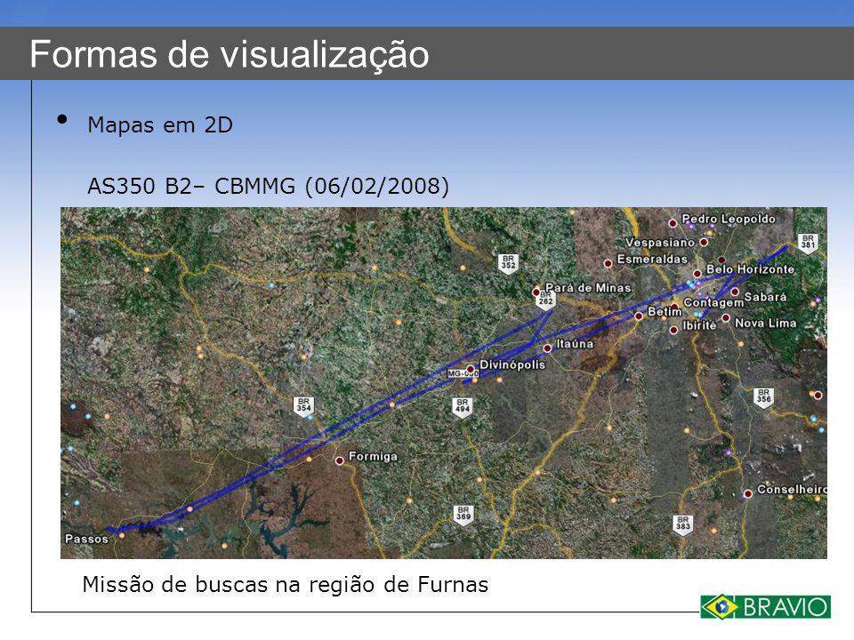 Formas de visualização Mapas em 2D AS350 B2– CBMMG (06/02/2008) Missão de buscas na região de Furnas