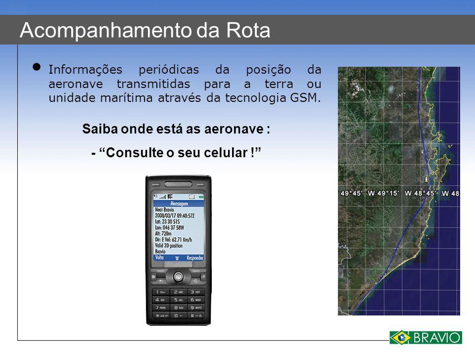 Acompanhamento da Rota Informações periódicas da posição da aeronave transmitidas para a terra ou unidade marítima através da tecnologia GSM. Saiba on