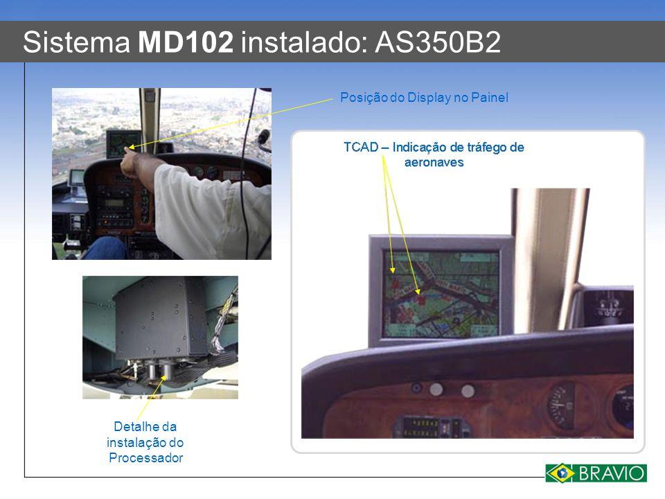 Sistema MD102 instalado: AS350B2 Detalhe da instalação do Processador Posição do Display no Painel