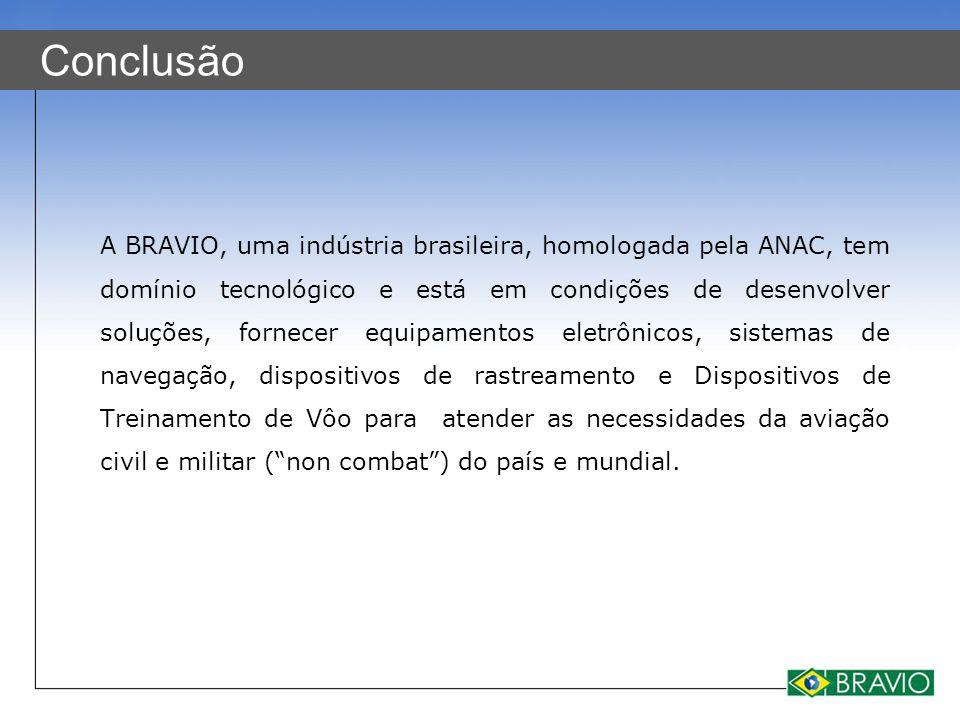 Conclusão A BRAVIO, uma indústria brasileira, homologada pela ANAC, tem domínio tecnológico e está em condições de desenvolver soluções, fornecer equi
