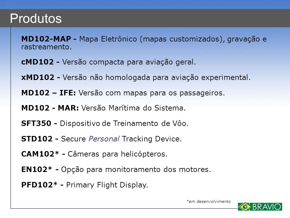 Produtos MD102-MAP - Mapa Eletrônico (mapas customizados), gravação e rastreamento. cMD102 - Versão compacta para aviação geral. xMD102 - Versão não h