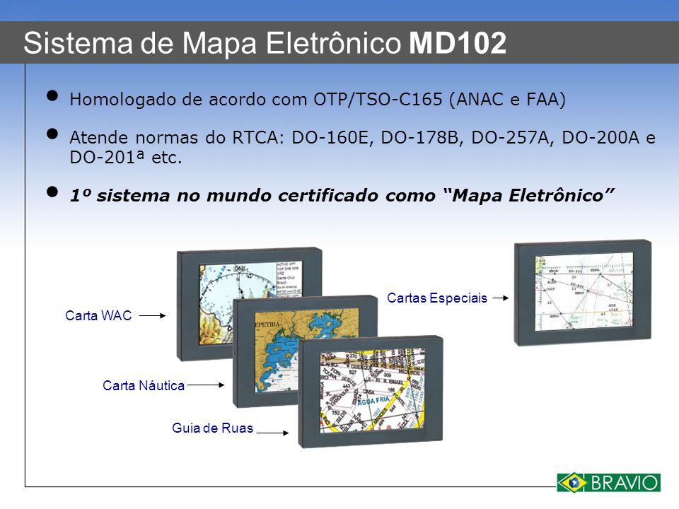 Sistema de Mapa Eletrônico MD102 Homologado de acordo com OTP/TSO-C165 (ANAC e FAA) Atende normas do RTCA: DO-160E, DO-178B, DO-257A, DO-200A e DO-201