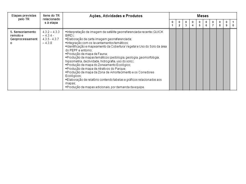 Etapas previstas pelo TR Itens do TR relacionado s à etapa Ações, Atividades e ProdutosMeses 0101 0202 0303 0404 0505 0606 0707 0808 0909 1010 5.