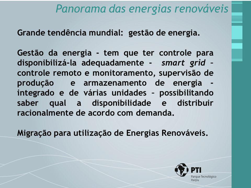 Grande tendência mundial: gestão de energia. Gestão da energia - tem que ter controle para disponibilizá-la adequadamente - smart grid – controle remo
