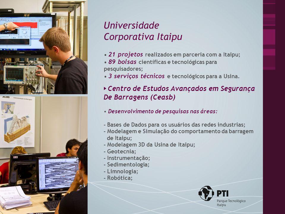 21 projetos realizados em parceria com a Itaipu; 89 bolsas científicas e tecnológicas para pesquisadores; 3 serviços técnicos e tecnológicos para a Usina.
