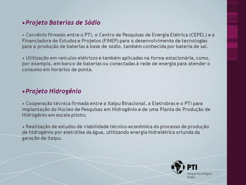 Projeto Baterias de Sódio Convênio firmado entre o PTI, o Centro de Pesquisas de Energia Elétrica (CEPEL) e a Financiadora de Estudos e Projetos (FINEP) para o desenvolvimento de tecnologias para a produção de baterias à base de sódio, também conhecida por bateria de sal.